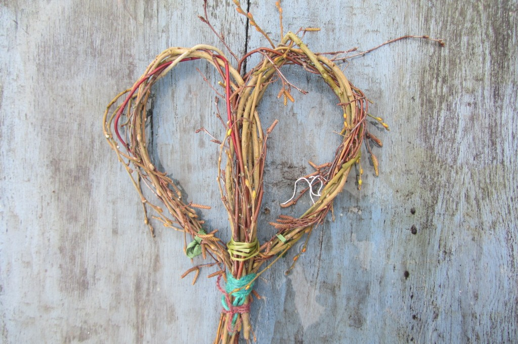 Heart shaped from birch, willow and dogwood